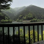 レイクサイドテラス名栗湖の外のテラスからの名栗湖の眺め